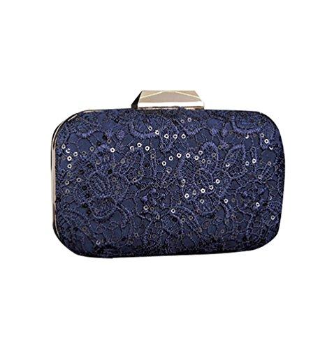 CHENGYANG Donna Pizzo Pochette a Busta Mini Sera Borsa Vintage Borse per cerimonia Clutch Bag Blu