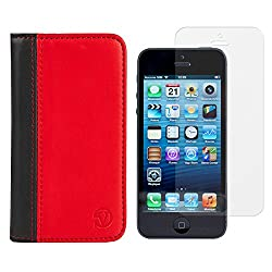 VanGoddy Mary Portfolio Self Stand Case Cover For Apple iPhone 5S / 5G (Red) + Tempered Glass Screen