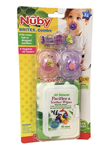 Nuby Brites Pacifier and Wipes Combo Set - Colors May Vary - 1
