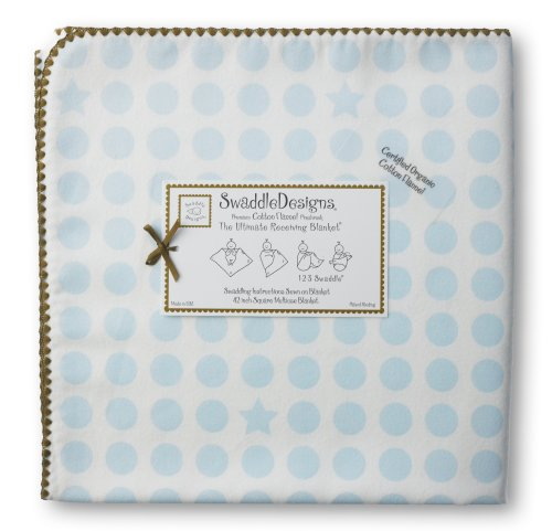 SwaddleDesigns Organic Ultimate Receiving Blanket - Pastel Blue Dots and Stars with Mocha Trim
