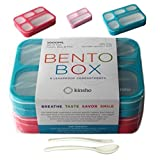6 Compartment Lunch Boxes. Bento Box Lunchbox Containers for Kids, Adult. BPA-Free Dishwasher & Microwave Safe School Bentobox or Meal Planning Portion Container. Leakproof. Set of 2 Blue & Pink Kits. (Color: Blue Large & Bright Pink Large)