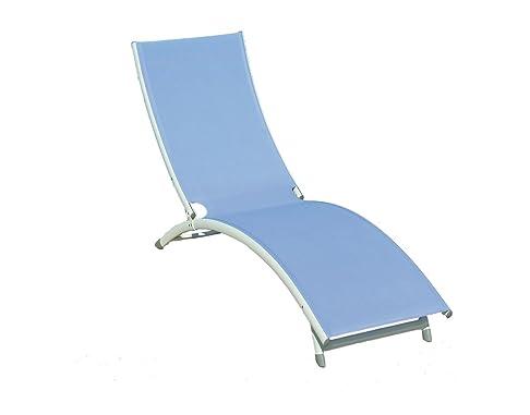 Lettino Onda da mare CLAT 44A Lettino spiaggia prendisole In Alluminio sandy con Tubo 40 X 20 mm Seduta in textilene da 600 gr Azzurro