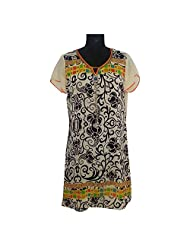 ADS Womens Digital Print Beige Black Kurti/Tunic