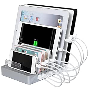 Wogiz8 Port Charging Station Detachable Universal USB Charging Station (50W, 2.4A Max Charging Dock) Desktop Charging Stand Organizer For Smartphone Tablet And More (White)