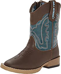 Double Barrel Baby Boys\' Open Range Side Zipper Cowboy Boot Square Toe Brown US