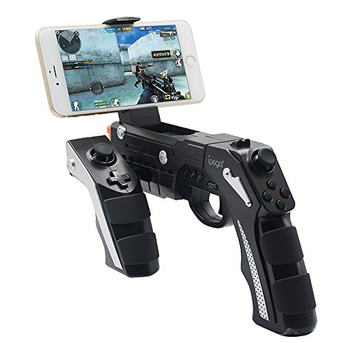 JCalcifer Mobile Phone Shoot Game Wireless Bluetooth Gun Gamepad Controller with Motor Vibration for 4 to 6 inch Smartphone iPhone Samsung Tablet PC iPad Android TV Box