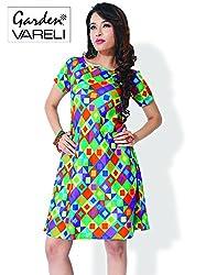 Garden Vareli Womens Cotton Column Dress (Gardenvareli Western Dress 1028-A _Green _Medium)