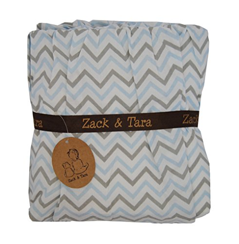 Zack & Tara Crib Skirt - Chic Chevrons in Blue & Gray