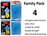 VAS-DOUBLE-STRENGTH-FAMILY-PACK-5-MIL-ADULT-CHILD-BLUE-EMERGENCY-HOODED-RAIN-PONCHOS-WITH-SLEEVES-HOOD-W-DRAW-STRING
