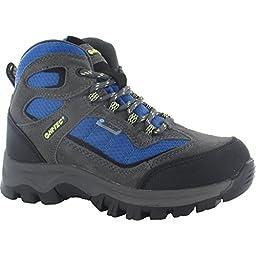 HI-TEC HILLSIDE WP JR Kids Boys Waterproof Hiking Boots (2 US) (Charcoal/Blue)