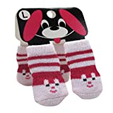 【全3サイズ】犬・猫・小動物用の靴下 ペットソックス  滑り止め靴下 2足組み Pet Socks ウサギ柄 ピンク (Lサイズ: 35*90mm(W*H) / 8225-43)