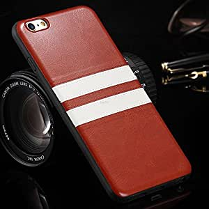 """DORRON iPhone 6 / 6S Fashion Retro 2 Stripes TPU & PU Leather Soft Case for Apple iPhone 6/6S 4.7"""" Mobile Phone Back Protective Cover - Brown"""