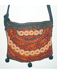 Tasche Beuteltasche Umhängebeutel Patchwork Hippy Style IKAT-Baumwolle Handarbeit aus Guatemala #media luna02