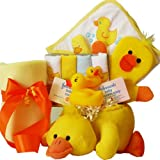 Bath Time Essentials Rubber Duck Baby Gift Basket , Neutral Boy or Girl