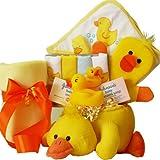 Bath Time Essentials Rubber Duck Baby Gift Basket , Neutral Boy or Girl