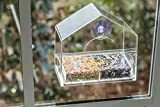 Large Clear Window Bird Feeder - Removable Multi-Purpose Slide Tray with Breathe Holes. Easy Cleaning and Filling