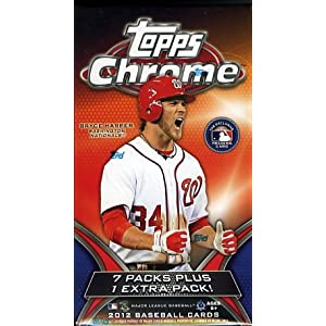 2012 Topps Chrome MLB Baseball EXCLUSIVE Factory Sealed Retail Box with SPECIAL PURPLE Refractors only found in this Box ! Look for Rookie Cards and Rare Autographs of Bryce Harper,Yu Darvish,Yoenis Cespedes and More! Topps Chrome is always SUPER HOT !
