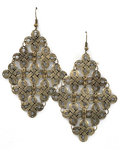 Burnished Goldtone Clover Theme Dangle Earrings Fashion Jewelry