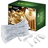 LE 19.68×9.84ft 600 LED Window Lights, Curtain Icicle Lights, 8 Modes Linkable Design, Warm White, Fairy String Lights for Christmas/Wedding/Party Decorations
