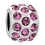 Silver Plated Pugster Jewelry Birthstone Rose Pink Crystal Spacer Bead Fits Pandora Charms Bracelet