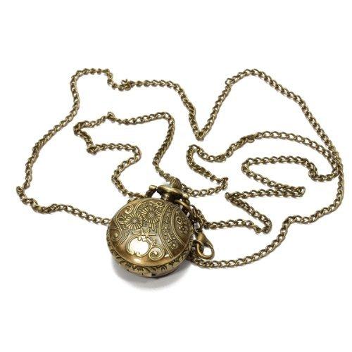 Orologio da Tasca Bronzeo al Quarzo Fiore Farfalla Numeri Arabi con Collana