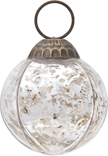Luna Bazaar Small Mercury Glass Ornament (Penina Design, Ball Shape, 2.25-Inch, Silver) - Vintage-Style Decoration
