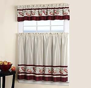 3 Piece Tier Valance Kitchen Window Curtain