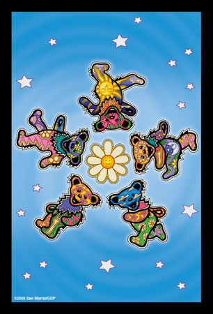 2 x Dan Morris / GDP - Grateful Dead Daisy Iconic Dancing Bears Postcards - 4'' x 6'' Inches