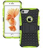 iPhone7 ケース 耐衝撃 スタンド機能付 カバー プラスチック+TPU 2層構造 ハイブリッド 背面保護キャップ(グリーン)