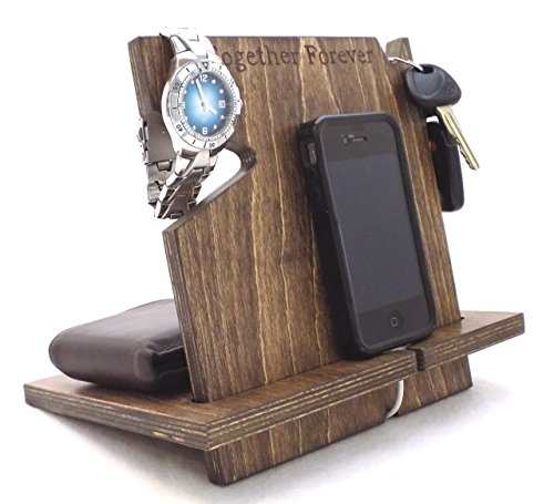 Wooden iPhone/Android Docking Station, Anniversary Gifts For Him, Fathers Day Gifts, iPhone 6s plus, 6s, 6 plus, 6, 5, 5s, 4, Samsung Galaxy, Android (Espresso-non personalized)