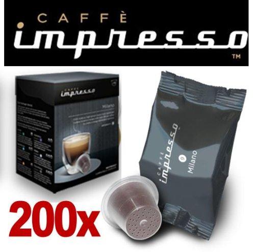 Order 200 x Nespresso Compatible Coffee Capsules / Pods Espresso - Milano Flavour by Espresso Coffee Club