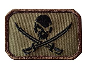 Ecusson / Patch Rectangulaire Pirate Skull Vert Olive A Scratch Msm Airsoft Kza-e-p-753 Airsoft