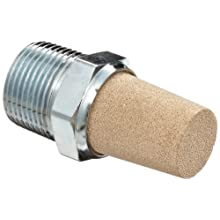 Parker EM75 EM Series Sintered Bronze Muffler/Filter, 3/4&#034; NPT Male, 1-1/6&#034; Hex Size, 250 psi