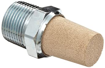 "Parker EM75 EM Series Sintered Bronze Muffler/Filter, 3/4"" NPT Male, 1-1/6"" Hex Size, 250 psi"