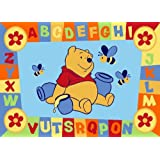 Luxury Childrens Character Winnie The Pooh ABC Blue Disney Rug/Mat