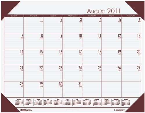 House of Doolittle EcoTone Academic Desk Pad Calendar, 13 x 18 1/2 Inch, Cream 12 Months August 2011 to July 2012, Recycled, Made in the USA (HOD012541)