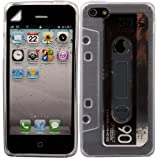 Retro Cassette Gel Skin Cover Case And LCD Screen Guard For Apple iPhone 5 5S / Off White