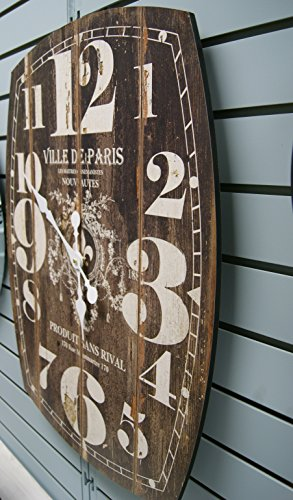 Oblong Black Decorative Wall Clock With Over Sized Numbers And Distressed Face Paris 20 x 27 inches Quartz movement 1