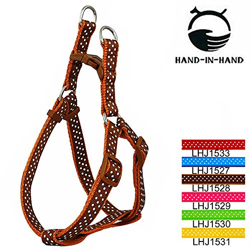 HAND-IN-HAND Polka Dot Release Buckle Strap Harness & Leash for Pet Dog Brown Medium (Bird Harness Medium compare prices)