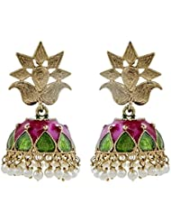 The Jewelbox Pink Green Meena Pearl Gold Plated Jhumki Earring For Women
