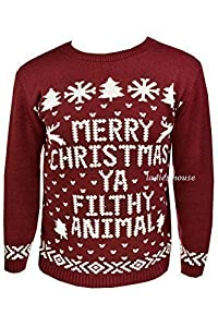 "New Mens Womens Xmas Jumpers Novelty Sweater Knitted Retro Pullover Burgundy ""Merry Christmas Ya Filthy Animal"""