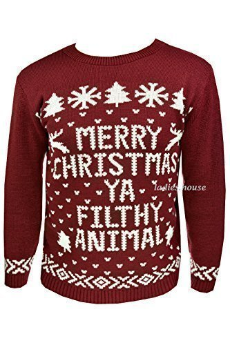New-Mens-Womens-Xmas-Jumpers-Novelty-Sweater-Knitted-Retro-Pullover-Burgundy-Merry-Christmas-Ya-Filthy-Animal