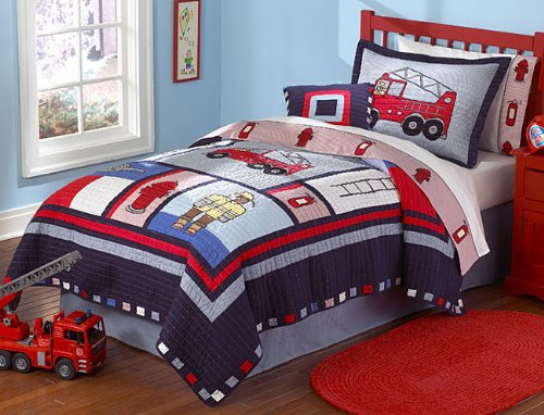 Fireman Firetruck Kids Boys Quilt Bedding Set Twin
