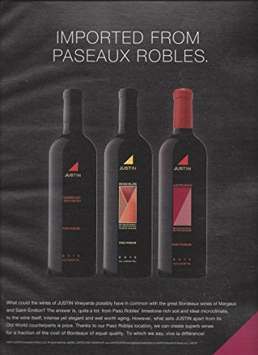 **PRINT AD** For 2010 Justin Vineyard Wine Imported From Paseaux Robles (Wine Justin compare prices)