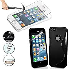 buy Iphone 5/5S/5C Case, Thin Case Cover Tpu Rubber Gel, Transparent Clear Black Case For Iphone 5S, Soft Silicone By Dth Comp + Premium Real Tempered Glass Screen ProtectorSlim Hd 3D Touch (Black)