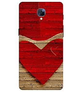 Chiraiyaa Designer Printed Premium Back Cover Case for One Plus 3 (heart boy girl friend valentine miss kiss wooden) (Multicolor)