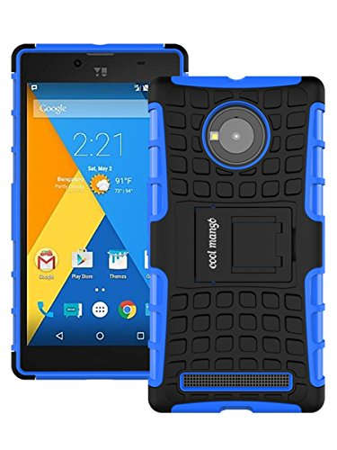 Micromax YU Yuphoria Protective Back Cover / Case : Cool Mango Premium Dual Layer Armor Protection Case Cover with Kickstand for Micromax YU Yuphoria - Blue