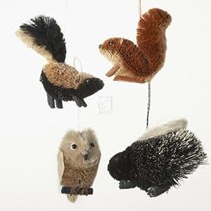 Buri Woodland Animal Ornament Set OF 4 - Skunk, Squirrel, Porcupine And Owl