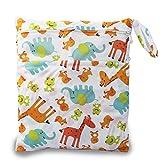 iZiv(TM) Bebé Reutilizable Impermeabilizan Mojado y Seco Bolsa de Pañales del Bebé Bolsa 2 Cremallera Impresión en Bolsa(Jirafa)