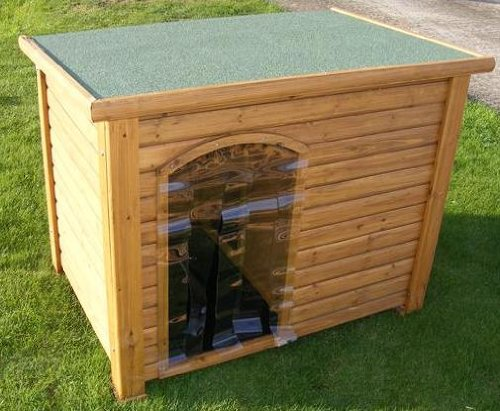 WOODEN DOG KENNEL X LARGE with Hinged Roof+ Waterproof Entrance